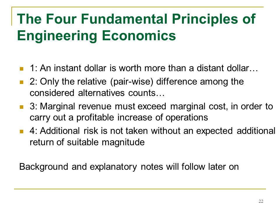 The Four Fundamental Principles of Engineering Economics