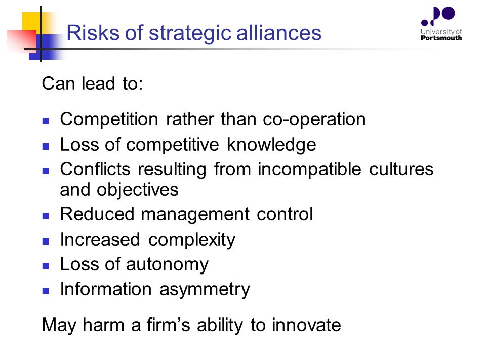 Risks of strategic alliances