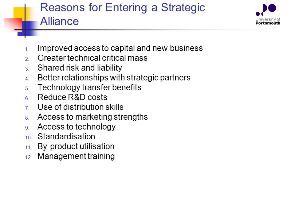 Reasons for Entering a Strategic Alliance