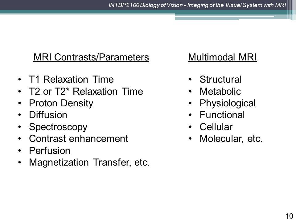 MRI Contrasts/Parameters