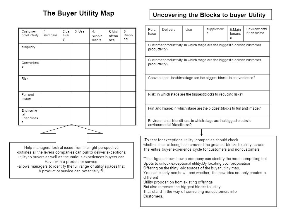The Buyer Utility Map Uncovering the Blocks to buyer Utility