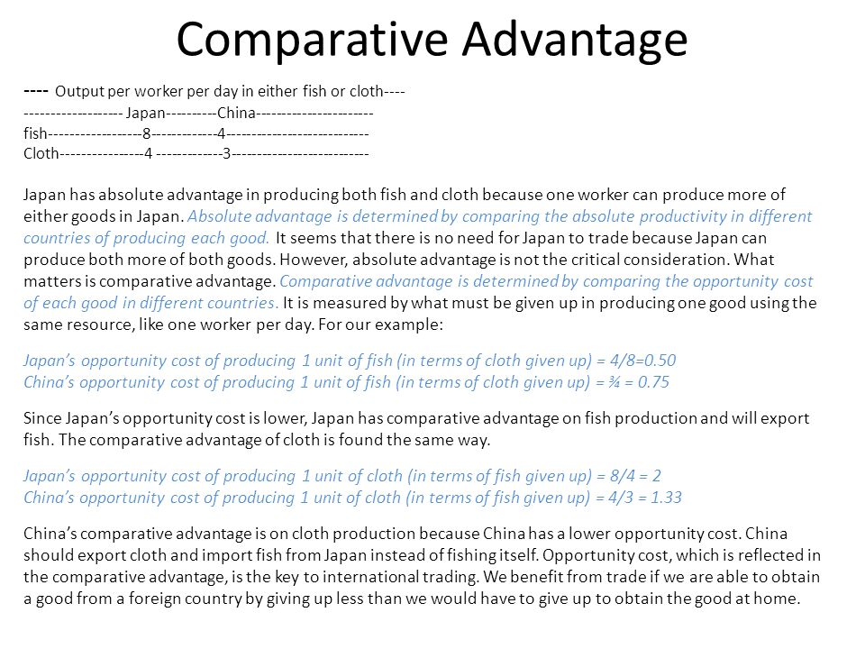 economics terms of trade comparative advantage International trade levels: a level this theory of trade based on comparative advantage rests on a number of subscribe to email updates from tutor2u economics.