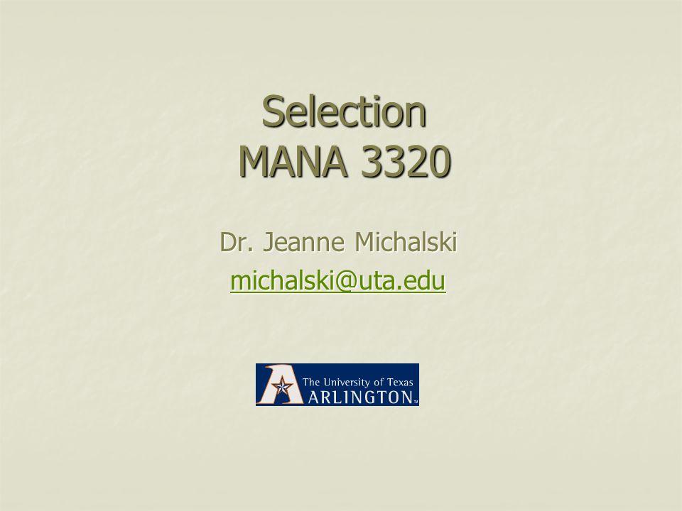 Dr. Jeanne Michalski michalski@uta.edu
