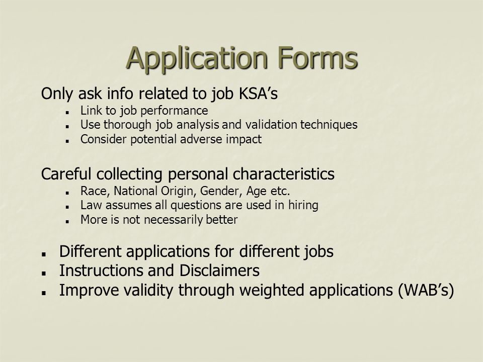 Application Forms Only ask info related to job KSA's