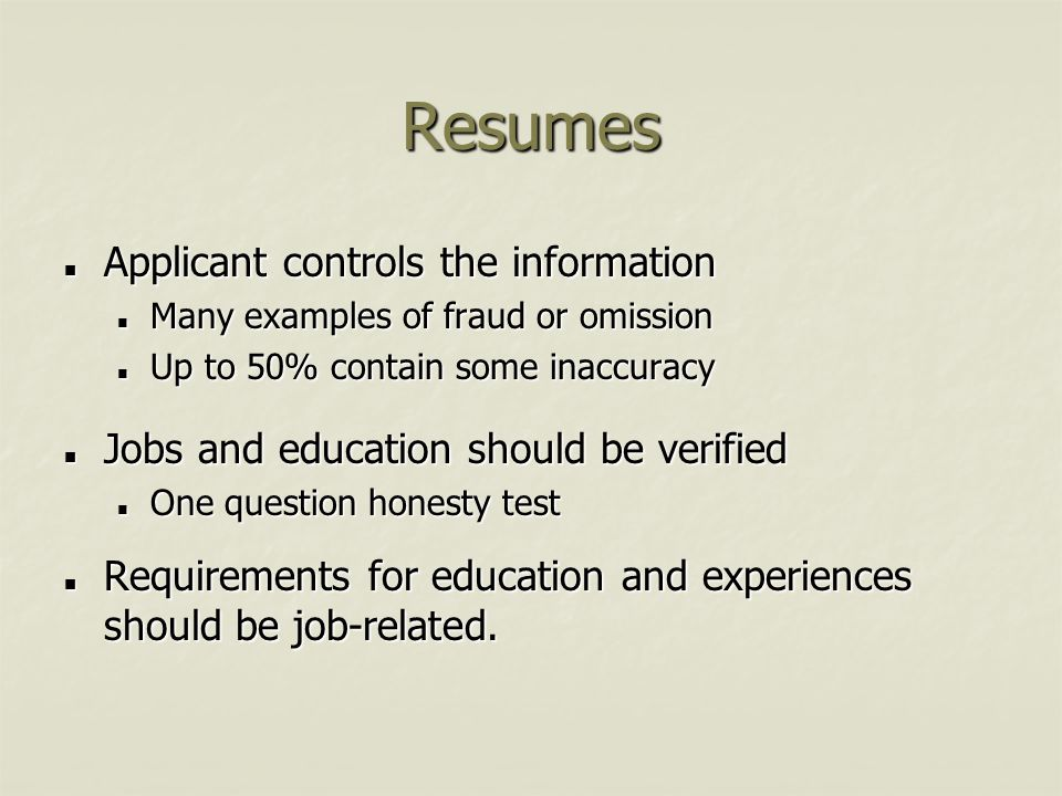 Resumes Applicant controls the information