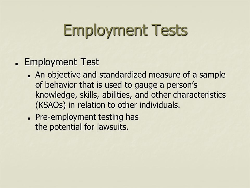 Employment Tests Employment Test