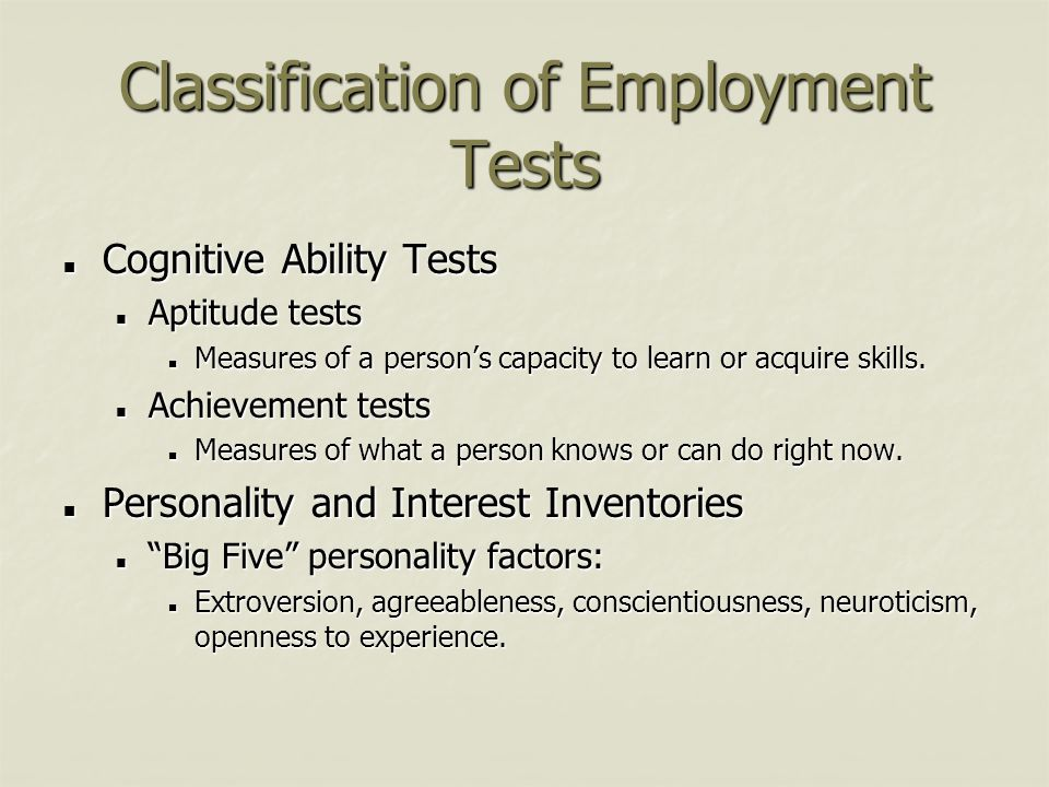 Classification of Employment Tests