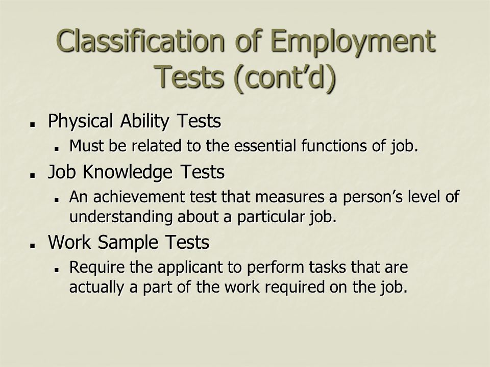 Classification of Employment Tests (cont'd)