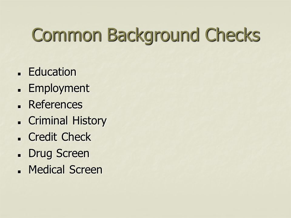 Common Background Checks
