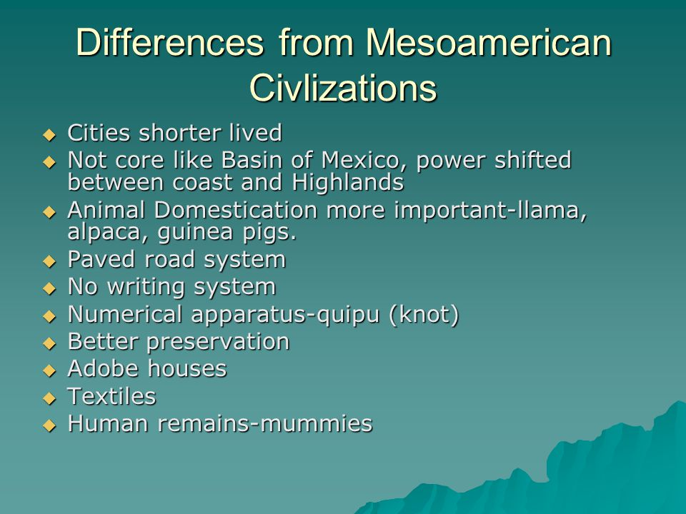 Differences from Mesoamerican Civlizations