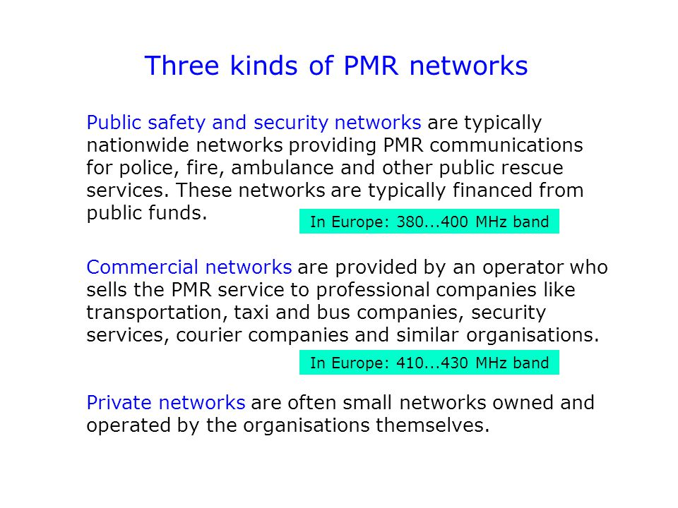 Three kinds of PMR networks