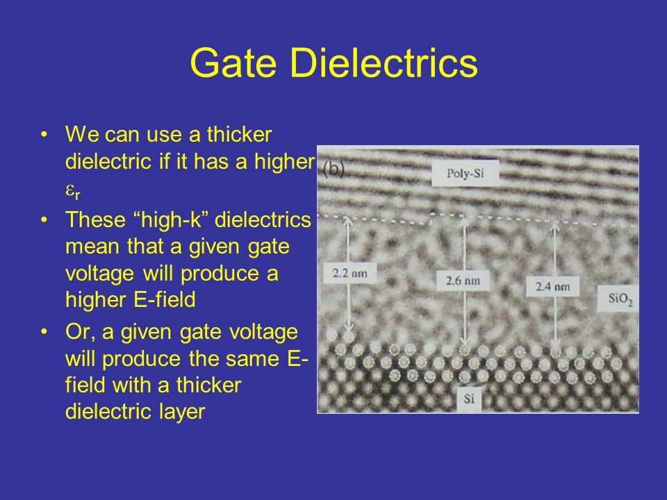 Gate Dielectrics We can use a thicker dielectric if it has a higher r