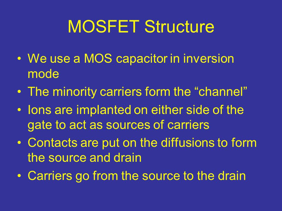 MOSFET Structure We use a MOS capacitor in inversion mode