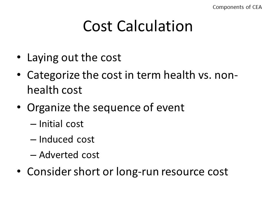 Cost Calculation Laying out the cost