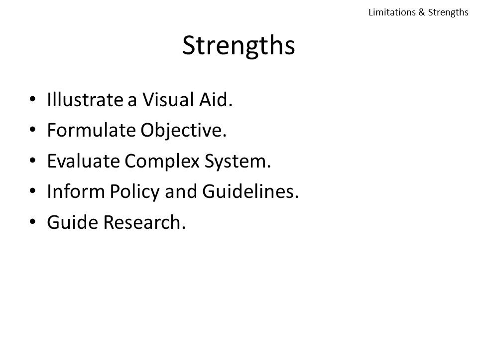 Strengths Illustrate a Visual Aid. Formulate Objective.