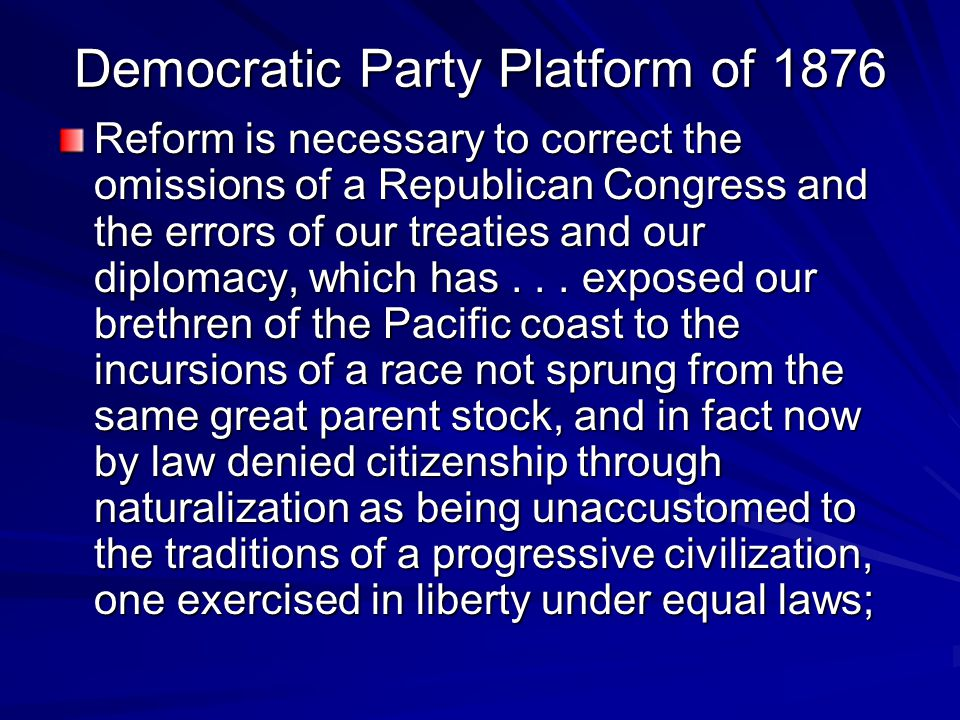 Democratic Party Platform of 1876