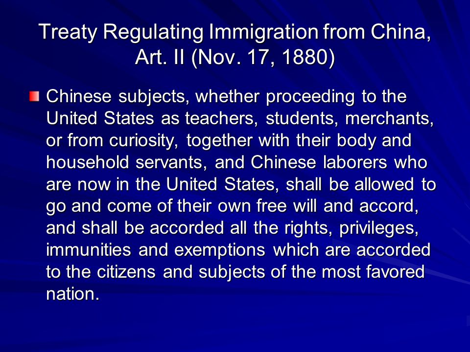 Treaty Regulating Immigration from China, Art. II (Nov. 17, 1880)