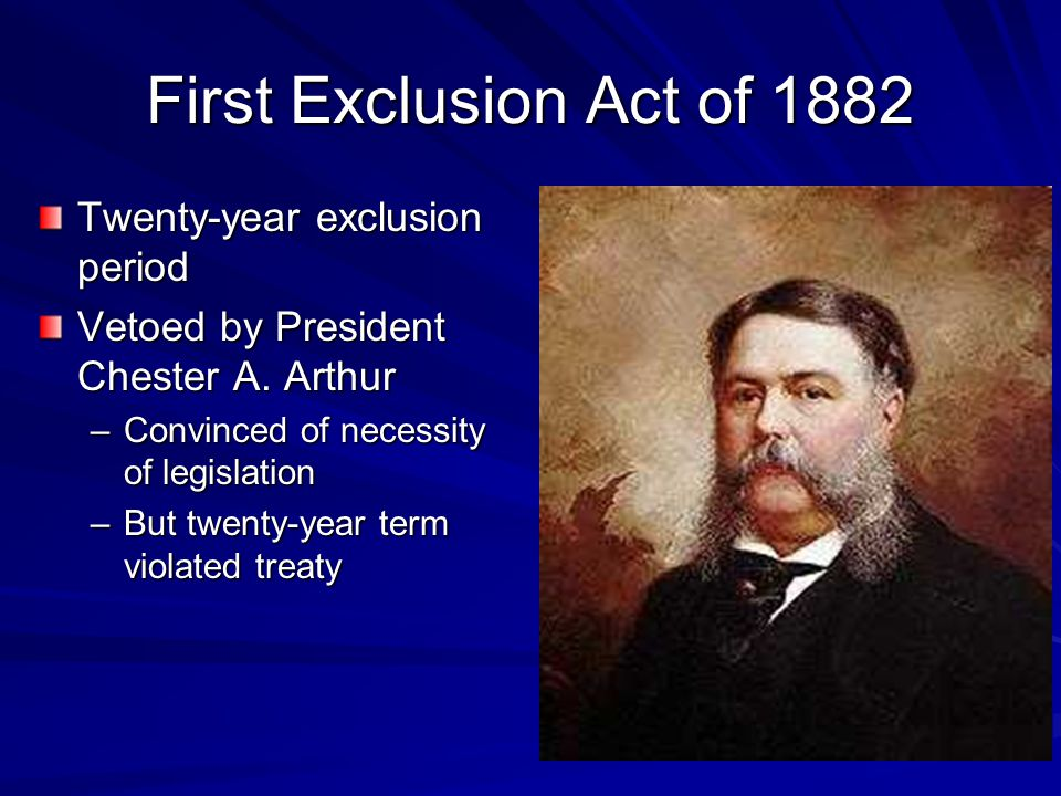 First Exclusion Act of 1882 Twenty-year exclusion period