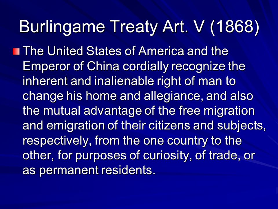 Burlingame Treaty Art. V (1868)
