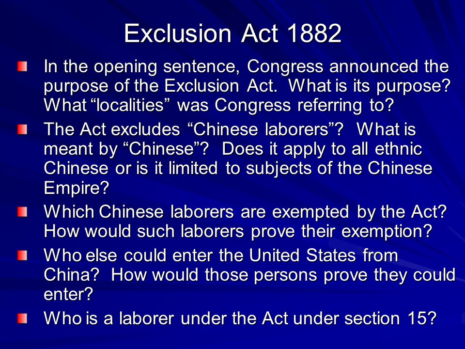 Exclusion Act 1882