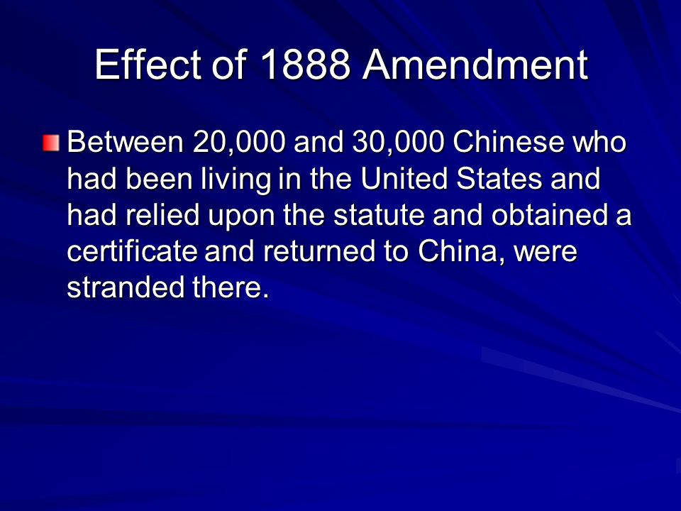 Effect of 1888 Amendment