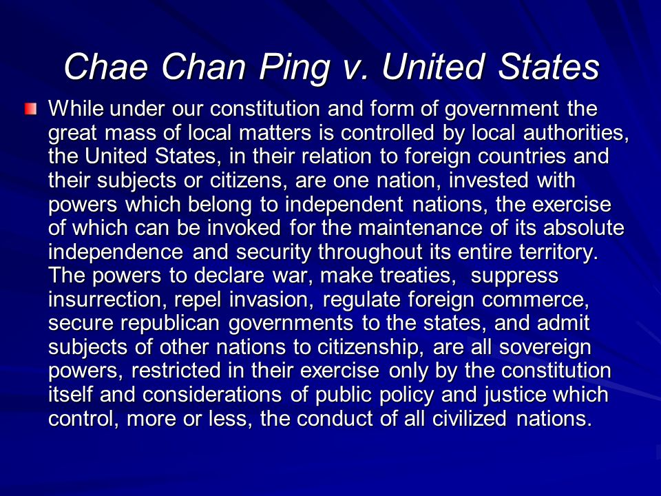 Chae Chan Ping v. United States