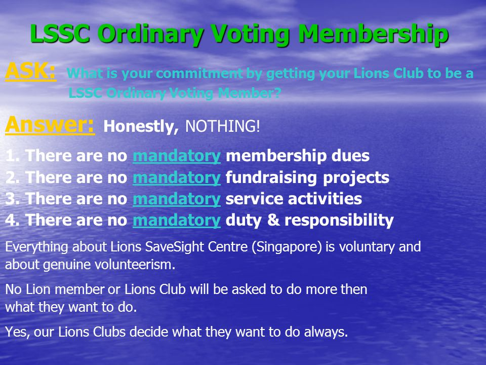 LSSC Ordinary Voting Membership