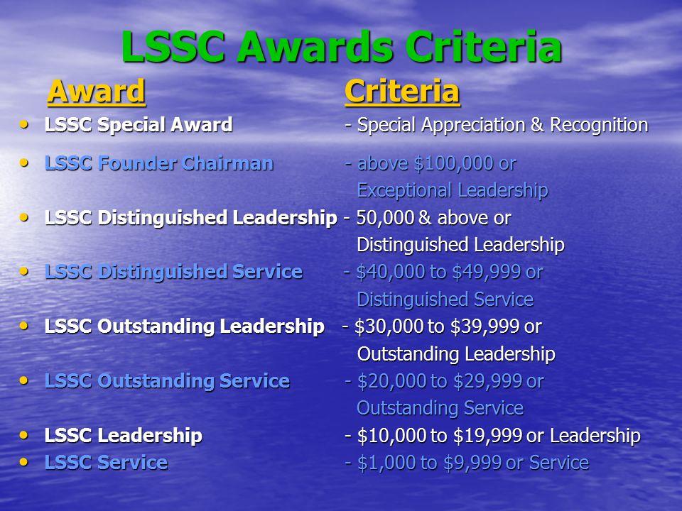 LSSC Awards Criteria Award Criteria