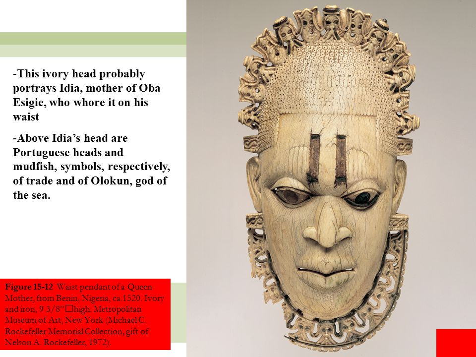 This ivory head probably portrays Idia, mother of Oba Esigie, who whore it on his waist