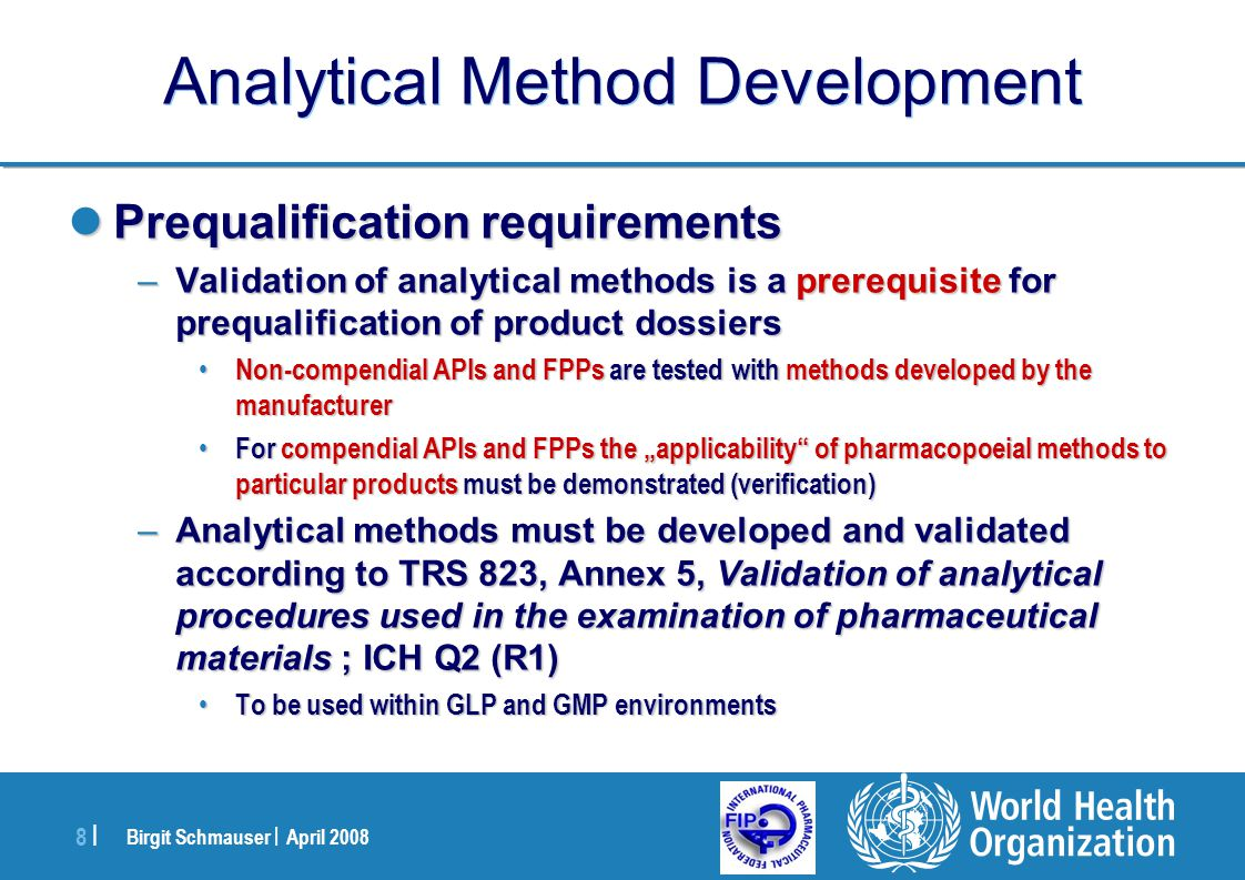 Analytic Method Development and Validation