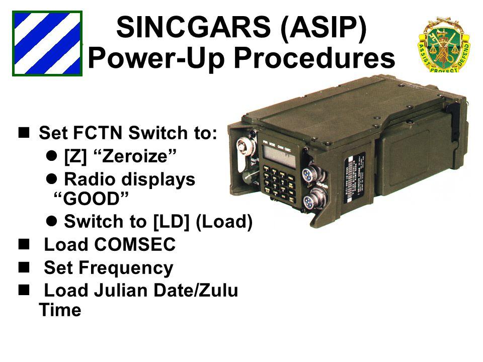 SINCGARS (ASIP) Power-Up Procedures
