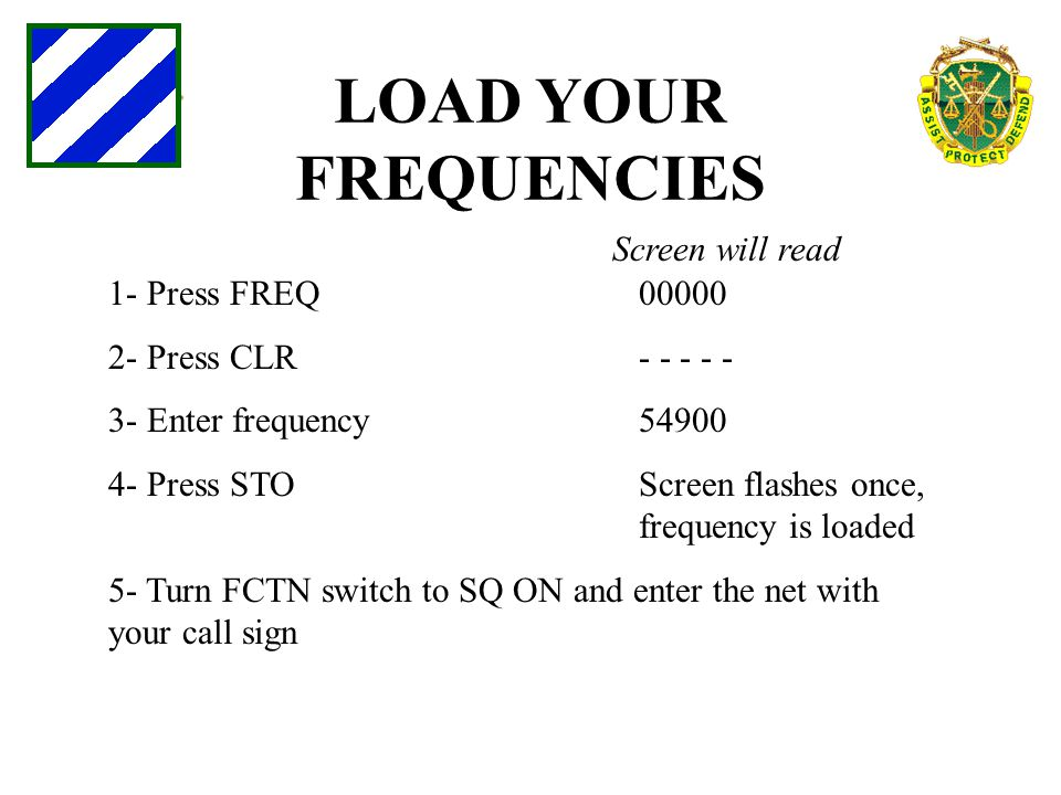 LOAD YOUR FREQUENCIES Screen will read 1- Press FREQ 00000