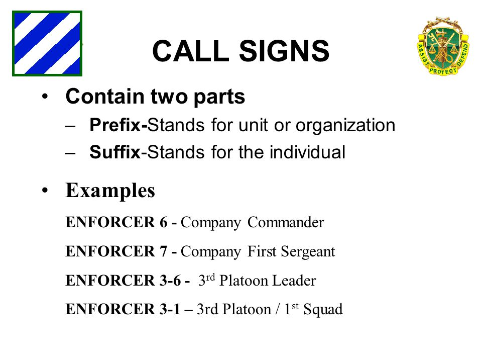 CALL SIGNS Contain two parts Examples
