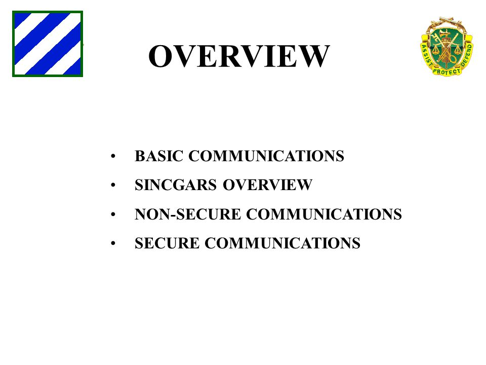 OVERVIEW BASIC COMMUNICATIONS SINCGARS OVERVIEW