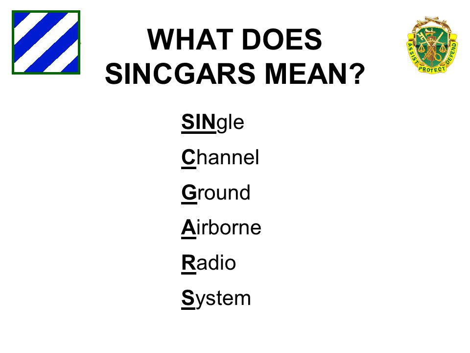 WHAT DOES SINCGARS MEAN