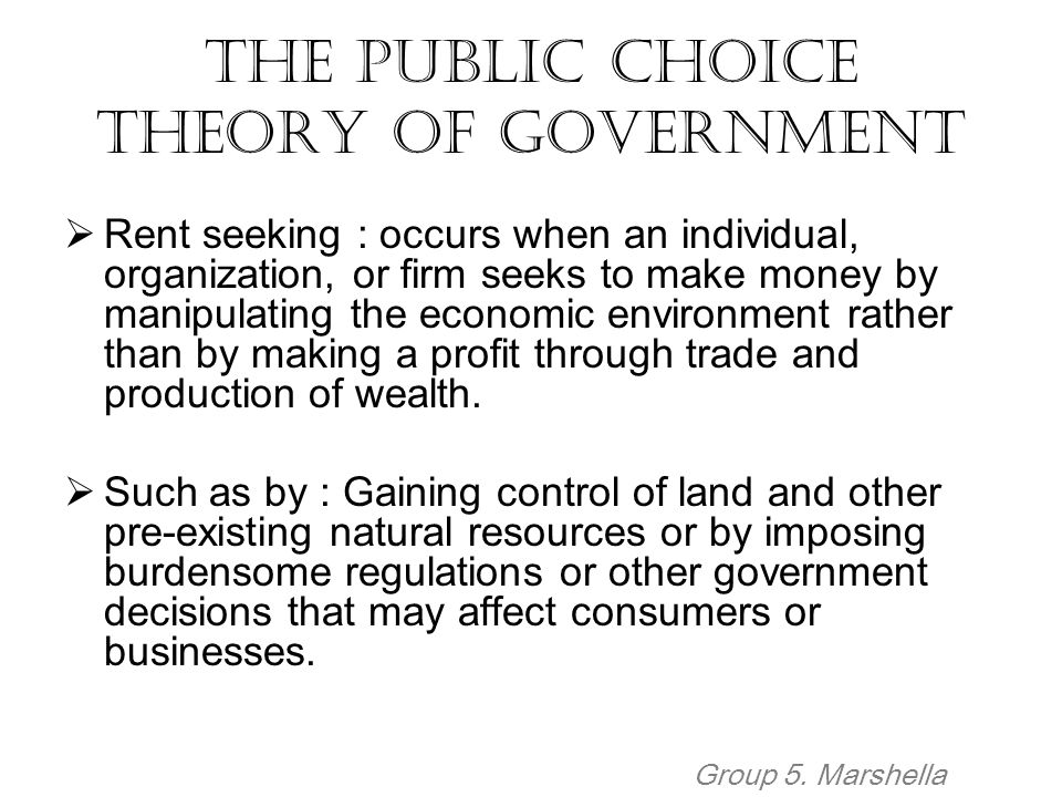 The Public Choice Theory of Government