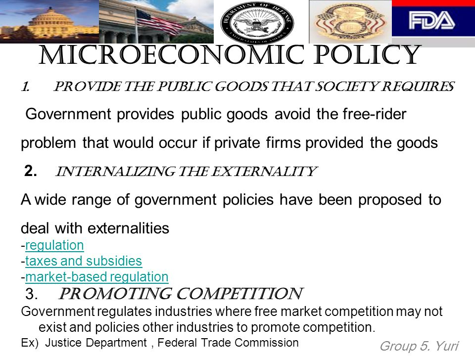 Microeconomic Policy Provide the public goods that society requires. Government provides public goods avoid the free-rider.