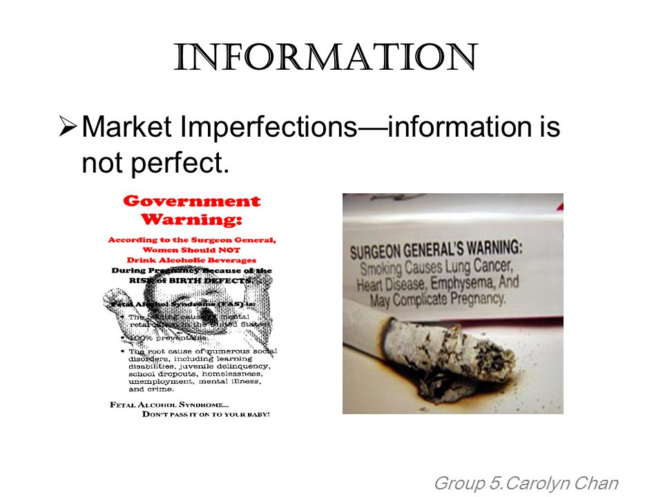 Information Market Imperfections—information is not perfect.