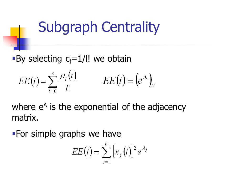 Subgraph Centrality By selecting cl=1/l! we obtain
