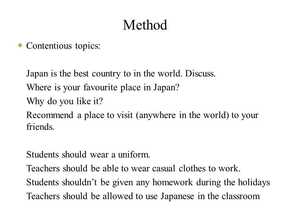 Method Contentious topics: