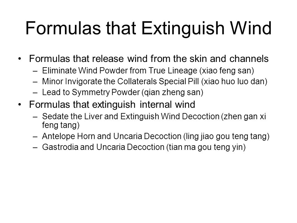 Formulas that Extinguish Wind
