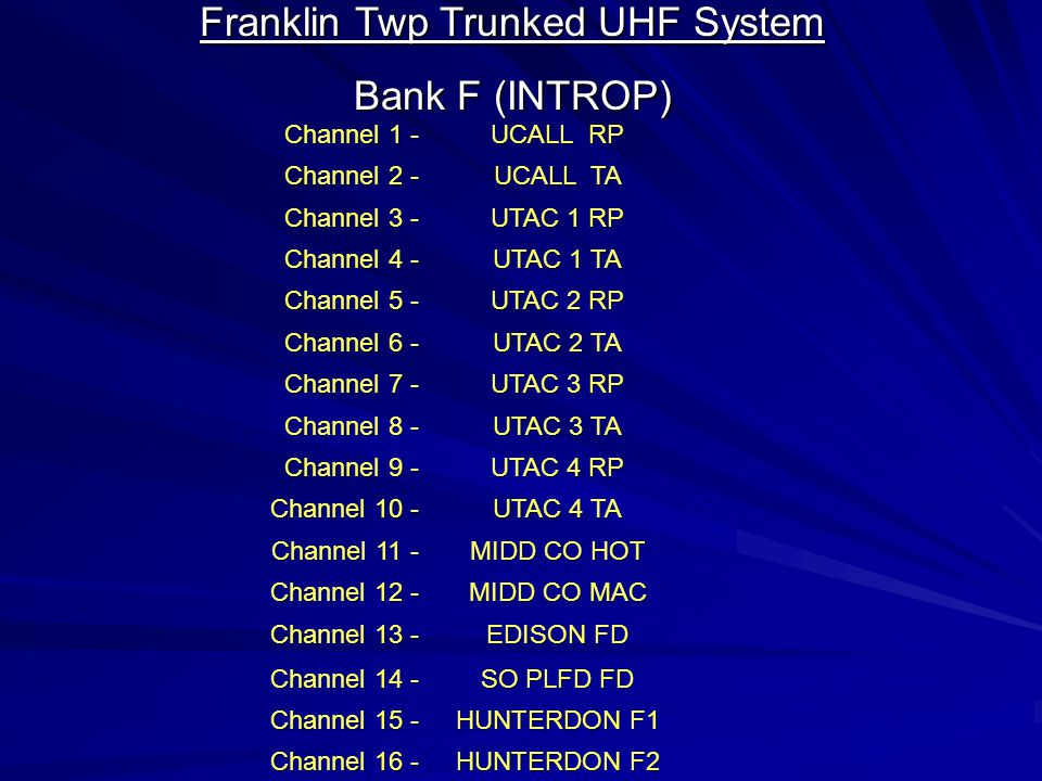 Franklin Twp Trunked UHF System