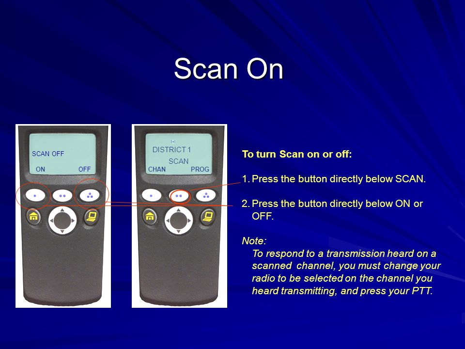 Scan On To turn Scan on or off: Press the button directly below SCAN.