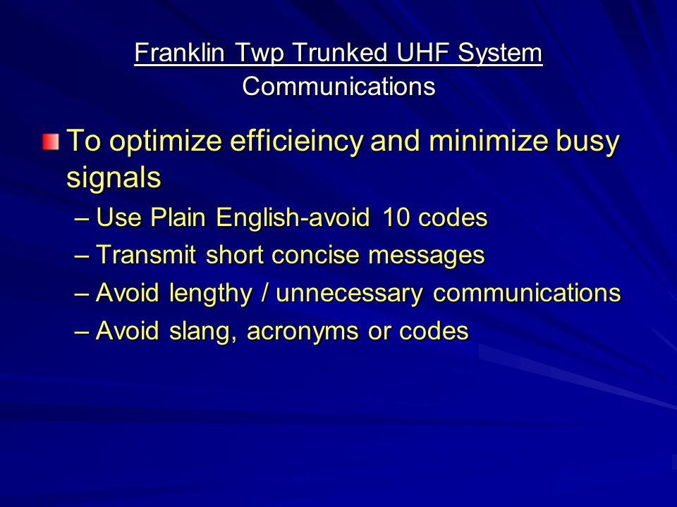 Franklin Twp Trunked UHF System Communications