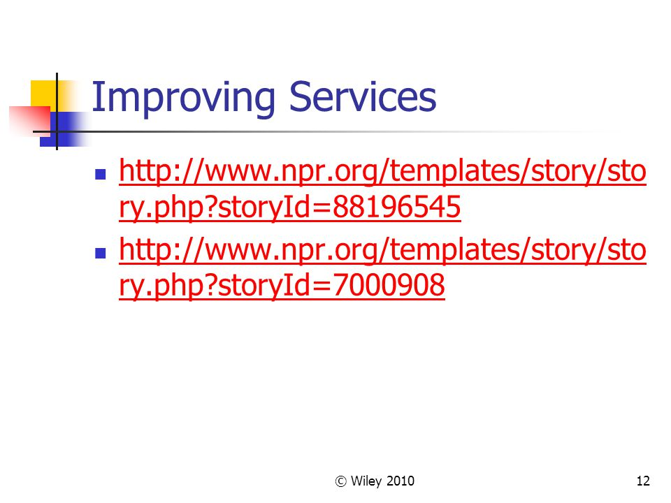 Improving Services http://www.npr.org/templates/story/story.php storyId=88196545. http://www.npr.org/templates/story/story.php storyId=7000908.