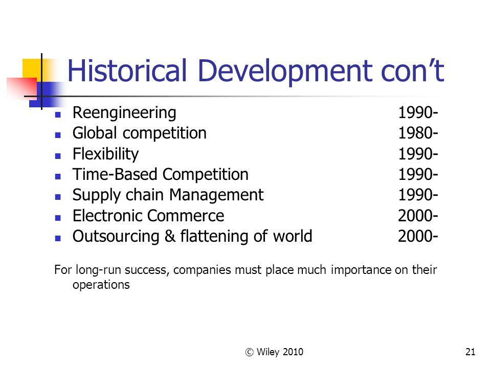 Historical Development con't