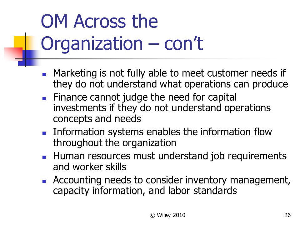 OM Across the Organization – con't