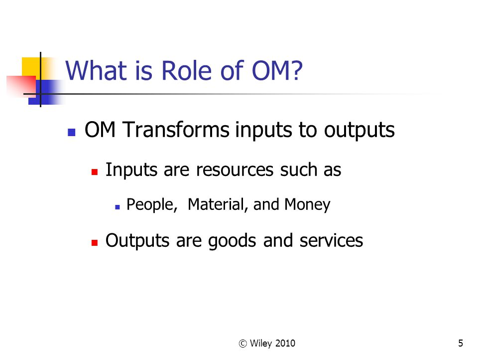 What is Role of OM OM Transforms inputs to outputs