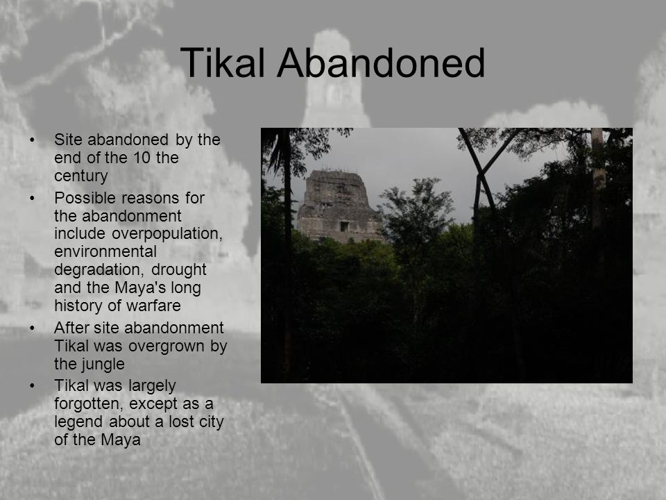 Tikal Abandoned Site abandoned by the end of the 10 the century