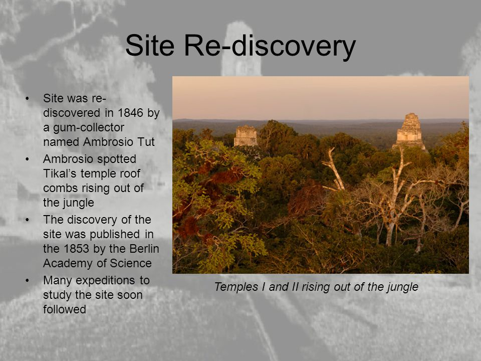 Site Re-discovery Site was re-discovered in 1846 by a gum-collector named Ambrosio Tut.